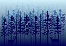 Blauw de winterbos, vector vector illustratie
