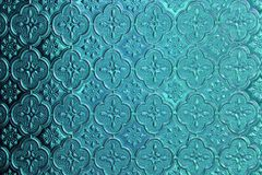 Blauw, denim en tiffany glas als achtergrond Oud uitstekend glas met Royalty-vrije Stock Foto's