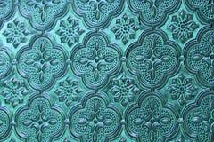 Blauw, denim en tiffany glas als achtergrond Oud uitstekend glas met Royalty-vrije Stock Afbeelding