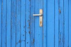Blauw deur en deurhandvat Royalty-vrije Stock Foto's