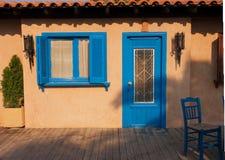 Blauw deuren en venster Royalty-vrije Stock Afbeeldingen