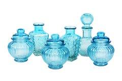 Blauw die glaswerk met patroon wordt geplaatst Stock Afbeelding
