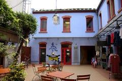 Blauw die Kunstwerk op een Gebouw in van de de kunstbinnenplaats van Kunsthofpassage ` de gang ` in Neustadt van Dresden, Duitsla royalty-vrije stock afbeelding