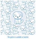 Blauw die patroon met honden in kawaiistijl worden getrokken met - toegepast monster Royalty-vrije Stock Afbeelding