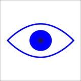 Blauw die pictogram van oog op witte achtergrond wordt geïsoleerd Stock Fotografie