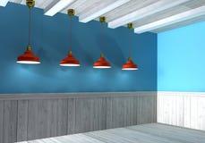Blauw die retro binnenland door lampen hierboven wordt verlicht vector illustratie