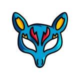 Blauw dierlijk masker met gele oren en rood ornament royalty-vrije illustratie