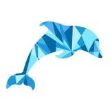 blauw dolfijnsilhouet dier met samenvatting Stock Fotografie