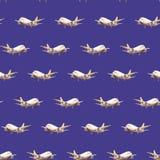Blauw donker waterverf naadloos patroon van witte perenvliegtuigen die in verschillende richtingen van de wereld achter de lading stock illustratie