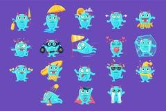 Blauw Dragon Character Activities Set vector illustratie