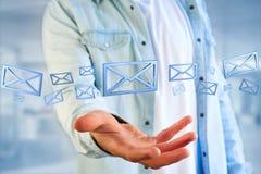 Blauw E-maildiesymbool op een kleurenachtergrond wordt getoond - het 3D teruggeven Royalty-vrije Stock Afbeelding