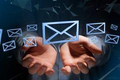Blauw E-maildiesymbool op een kleurenachtergrond wordt getoond - het 3D teruggeven Royalty-vrije Stock Foto's