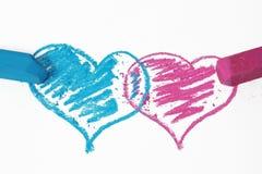Blauw een roze krabbelhart Stock Foto's