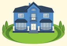 Blauw een twee-verhaal herenhuis met een balkon en grote vensters Vector royalty-vrije illustratie