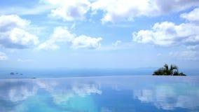 Blauw Eindeloos Zwembad met Blauwe Hemel en stock footage