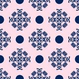 Blauw en Bleek - het roze Naadloze Patroon van het Damast Stock Afbeelding