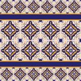 Blauw en geel keramische tegelpatroon Stock Fotografie