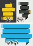 Blauw en geel malplaatje met bedrijfsmensen stock illustratie