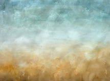 Blauw en gele waterverfachtergrond Royalty-vrije Stock Foto