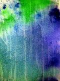 Blauw en Greens in Waterverf Royalty-vrije Stock Fotografie