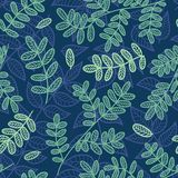 Blauw en groen bladeren naadloos patroon. stock illustratie