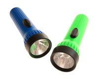 blauw en groen flitslicht Stock Foto's