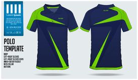 Blauw en groen van de de t-shirtsport van het streeppolo het malplaatjeontwerp voor voetbal Jersey, de Sport van de voetbaluitrus stock illustratie