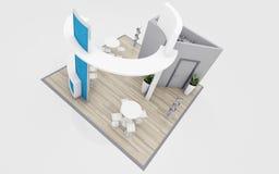 Blauw en het 3d Teruggeven van Grey Exhibition Stand Stock Afbeelding