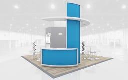 Blauw en het 3d Teruggeven van Grey Exhibition Stand Stock Foto