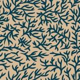 Blauw en lichtbruin takkenpatroon Gebarsten effect Naadloze vectorachtergrond Voor stof, textiel, ontwerp, reclamebanner vector illustratie