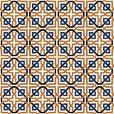 Blauw en oranje geometrisch tegelspatroon stock illustratie
