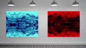 Blauw en rood canvas bij kunstgalerie vector illustratie