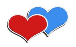 Blauw en rood hart op een witte achtergrond Stock Afbeeldingen