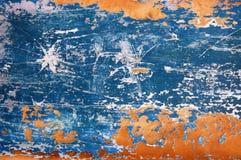 Blauw en Sinaasappel Verontruste Metaaltextuur Als achtergrond Stock Afbeeldingen