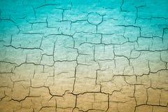 Blauw en Tan Cracked Paint stock fotografie