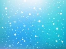 Blauw en wit abstract licht vlekken of sneeuwvlokken bokeh naadloos patroon, vector vector illustratie