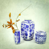 Blauw en Wit Aziatisch Porselein Royalty-vrije Stock Afbeelding