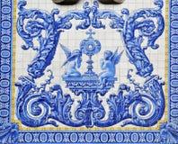Blauw en wit betegeld paneel van twee cherubijnen op Igreja DE Santo Antà ³ nio de kerk van Dos Congregados royalty-vrije stock foto's