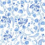 Blauw en wit bloemenbehang Bloemen naadloos patroon in de stijl van Paisley Decoratieve botanische achtergrond Lichtblauw Stock Afbeelding