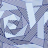 Blauw en wit chaotisch gestreept geometrisch naadloos patroon, vector vector illustratie