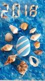 Blauw en wit idee met overzeese shell voor de zomer Royalty-vrije Stock Afbeeldingen
