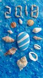 Blauw en wit idee met overzeese shell voor de zomer Stock Foto's
