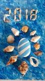 Blauw en wit idee met overzeese shell voor de zomer Royalty-vrije Stock Afbeelding