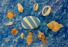 Blauw en wit idee met overzeese shell voor de zomer Stock Afbeelding