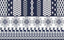Blauw en wit Noords Patroon Stock Afbeelding