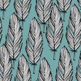 Blauw en wit veer naadloos patroon Royalty-vrije Stock Afbeeldingen