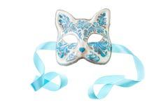 Blauw en zilveren masker stock foto's