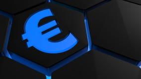 Blauw Euro symbool op zeshoek - het 3D teruggeven Royalty-vrije Stock Afbeeldingen