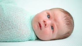 Blauw-eyed pasgeboren baby die en rond in wonder liggen kijken stock video