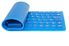 Blauw flexibel geïsoleerd computertoetsenbord stock foto's